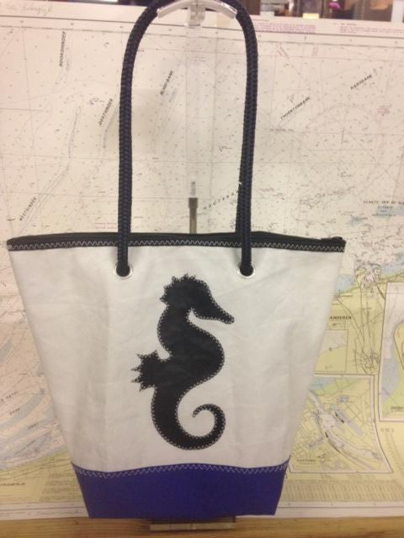 Shopping Bag Zwart Zeepaardje - Shopping De Panne