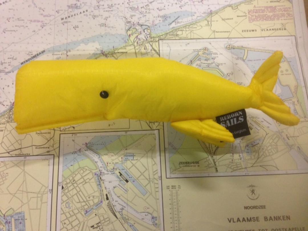 Walvis in Spinnaker stof geel - Shopping De Panne
